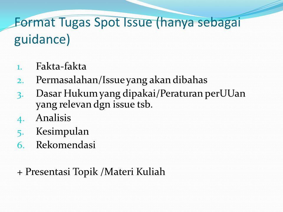 Format Tugas Spot Issue (hanya sebagai guidance) 1.