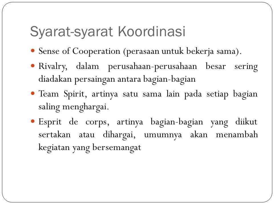 Syarat-syarat Koordinasi Sense of Cooperation (perasaan untuk bekerja sama). Rivalry, dalam perusahaan-perusahaan besar sering diadakan persaingan ant