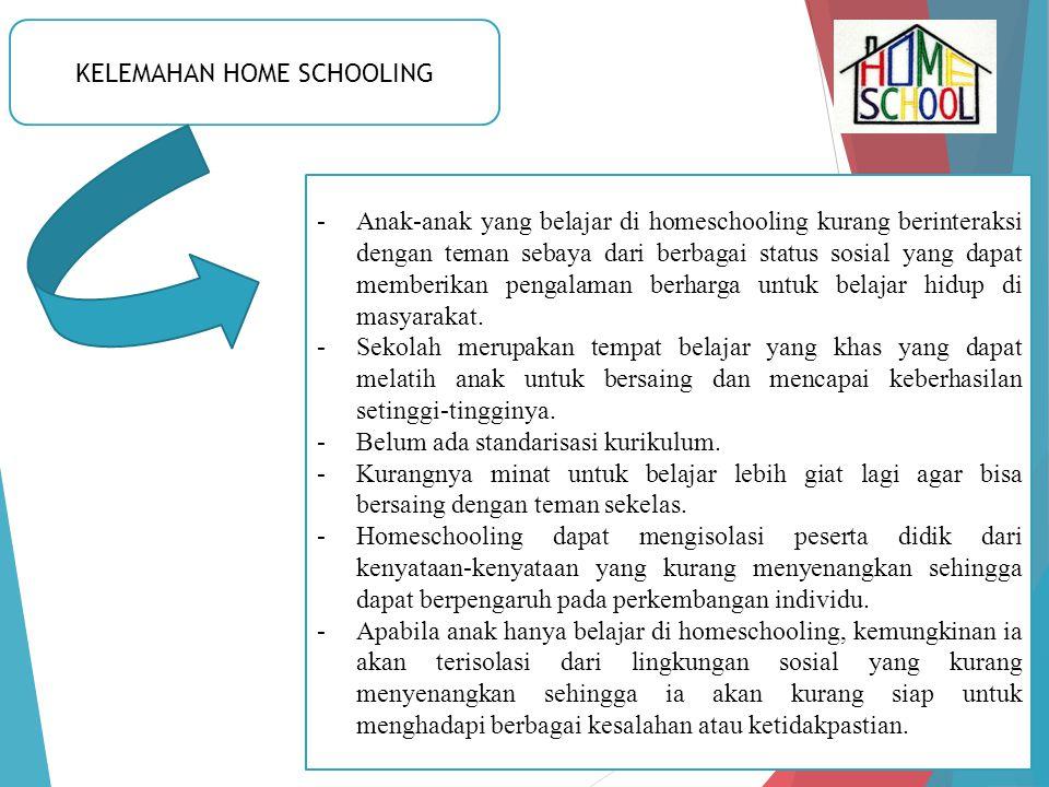 KELEMAHAN HOME SCHOOLING -Anak-anak yang belajar di homeschooling kurang berinteraksi dengan teman sebaya dari berbagai status sosial yang dapat membe