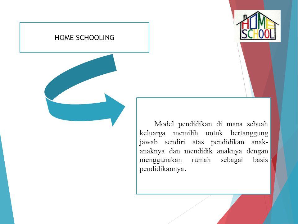 Model pendidikan di mana sebuah keluarga memilih untuk bertanggung jawab sendiri atas pendidikan anak- anaknya dan mendidik anaknya dengan menggunakan