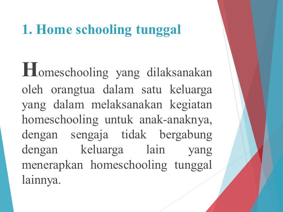 1. Home schooling tunggal H omeschooling yang dilaksanakan oleh orangtua dalam satu keluarga yang dalam melaksanakan kegiatan homeschooling untuk anak