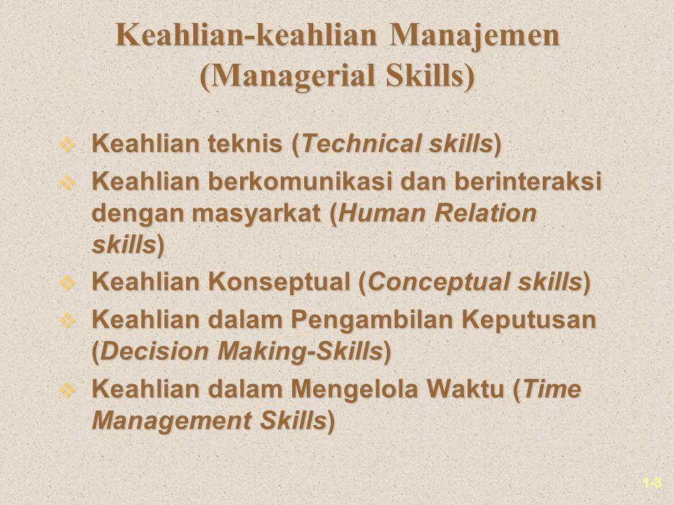 1-3 Keahlian-keahlian Manajemen (Managerial Skills) v Keahlian teknis (Technical skills) v Keahlian berkomunikasi dan berinteraksi dengan masyarkat (H