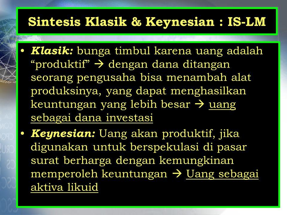 """Sintesis Klasik & Keynesian : IS-LM Klasik: bunga timbul karena uang adalah """"produktif""""  dengan dana ditangan seorang pengusaha bisa menambah alat pr"""