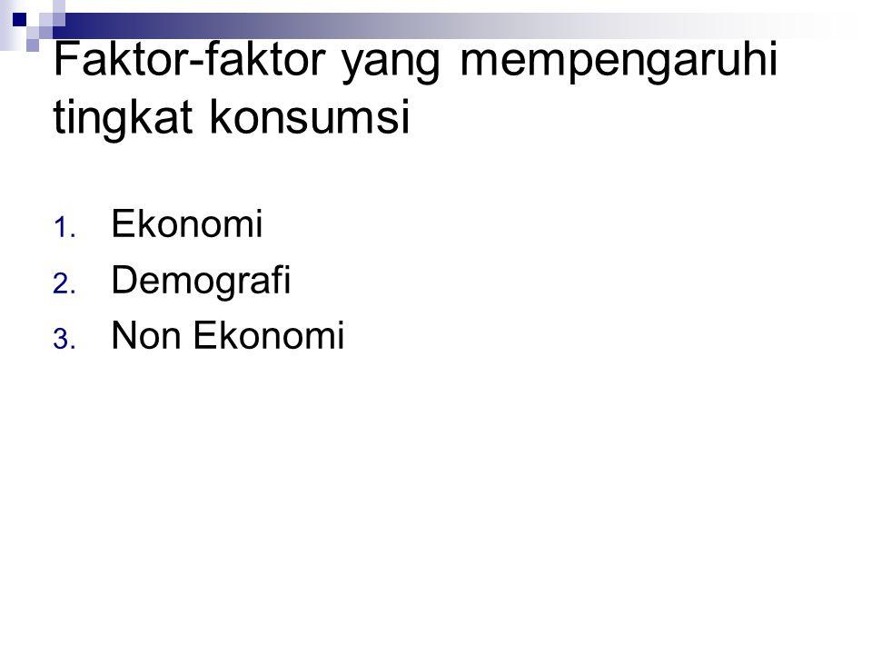 Faktor Ekonomi 1. Pendapatan RT 2. Kekayaan RT 3. Tingkat bunga 4. Perkiraan tentang masa depan