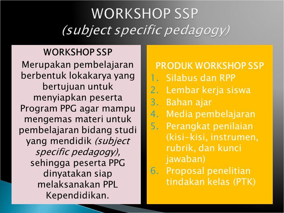 WORKSHOP SSP Merupakan pembelajaran berbentuk lokakarya yang bertujuan untuk menyiapkan peserta Program PPG agar mampu mengemas materi untuk pembelaja