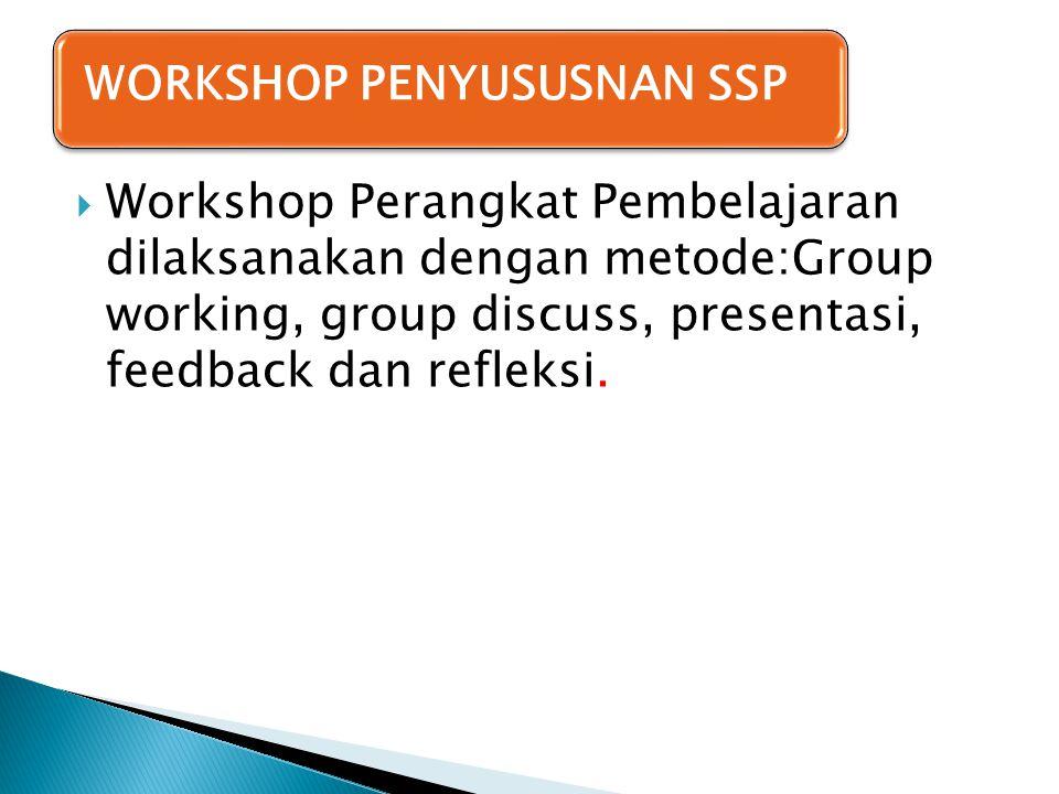  Workshop Perangkat Pembelajaran dilaksanakan dengan metode:Group working, group discuss, presentasi, feedback dan refleksi. WORKSHOP PENYUSUSNAN SSP