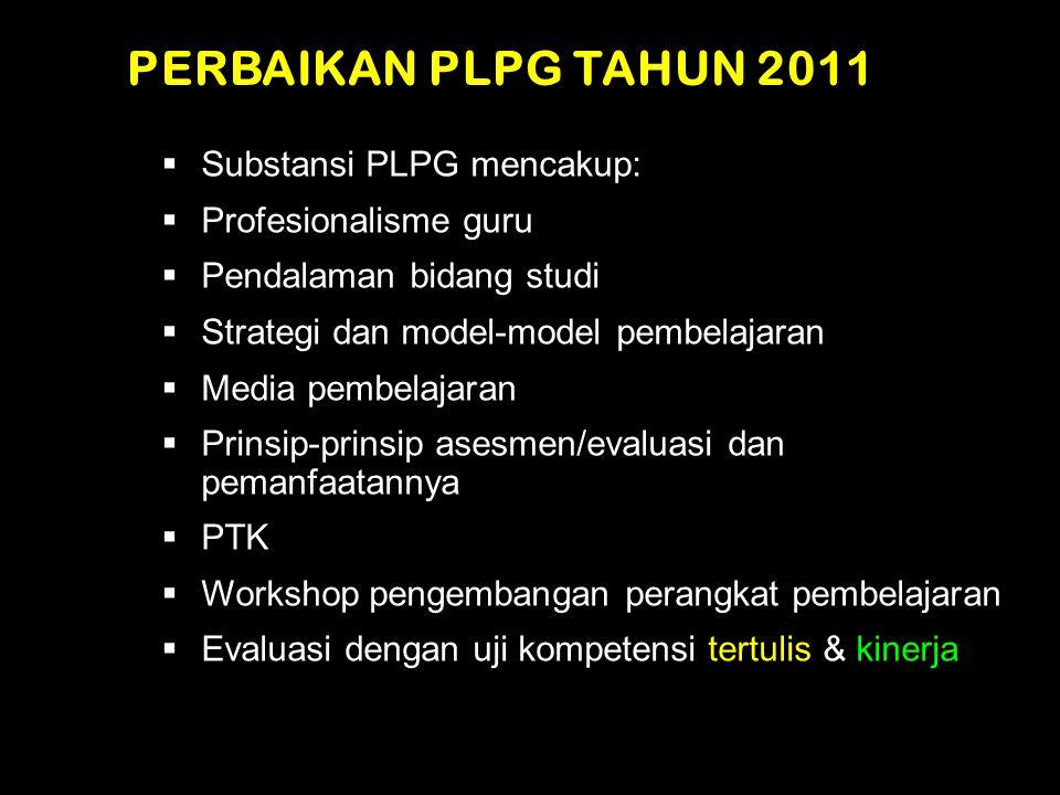 PERBAIKAN PLPG TAHUN 2011  Substansi PLPG mencakup:  Profesionalisme guru  Pendalaman bidang studi  Strategi dan model-model pembelajaran  Media