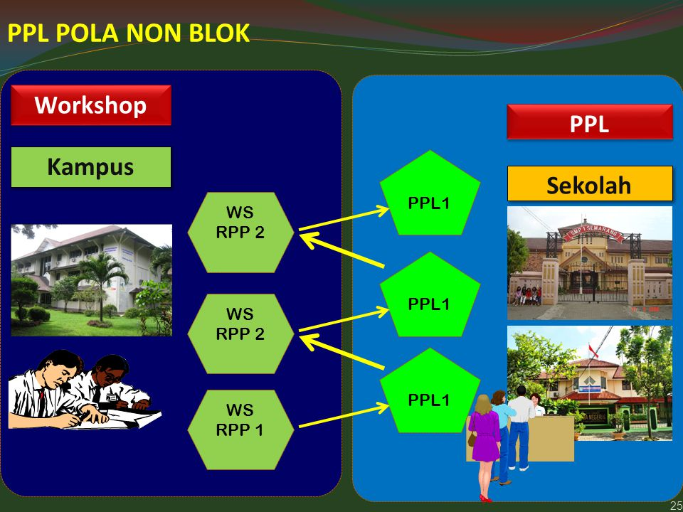 25 PPL POLA NON BLOK Kampus Sekolah WS RPP 1 PPL1 Workshop PPL WS RPP 2 PPL1 WS RPP 2 PPL1