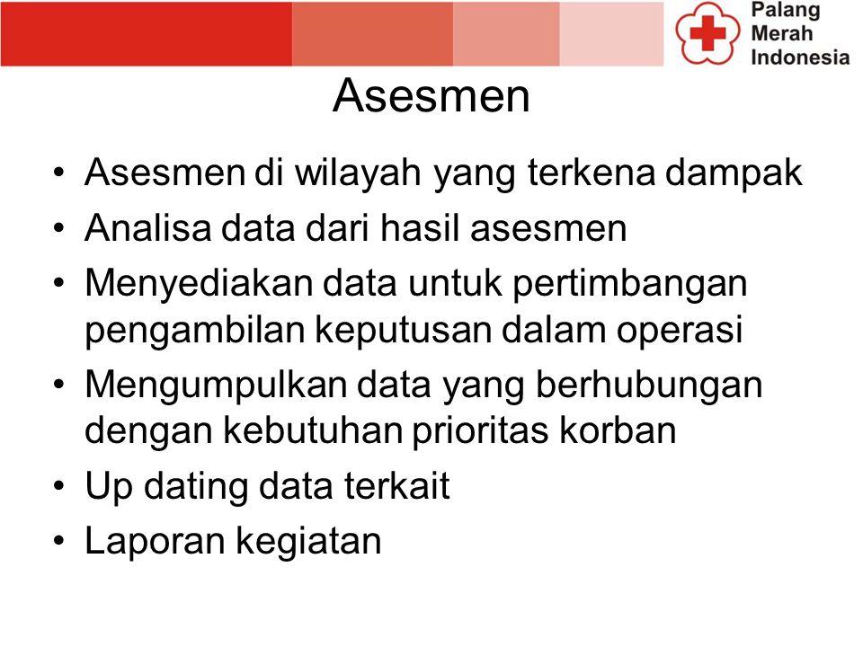 Asesmen Asesmen di wilayah yang terkena dampak Analisa data dari hasil asesmen Menyediakan data untuk pertimbangan pengambilan keputusan dalam operasi Mengumpulkan data yang berhubungan dengan kebutuhan prioritas korban Up dating data terkait Laporan kegiatan