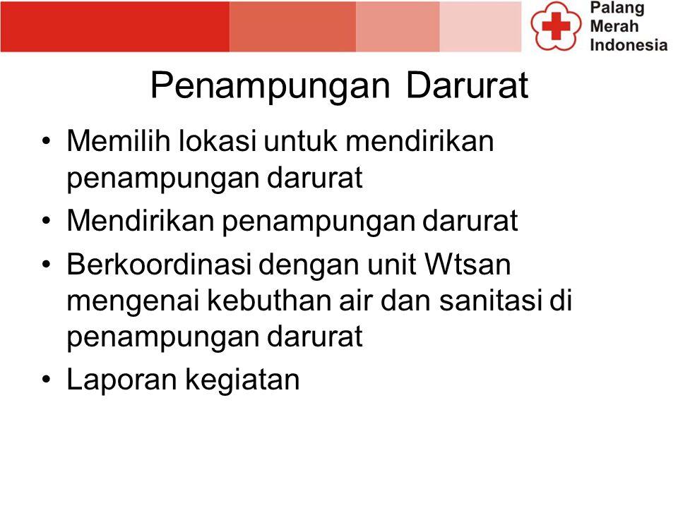 Penampungan Darurat Memilih lokasi untuk mendirikan penampungan darurat Mendirikan penampungan darurat Berkoordinasi dengan unit Wtsan mengenai kebuthan air dan sanitasi di penampungan darurat Laporan kegiatan