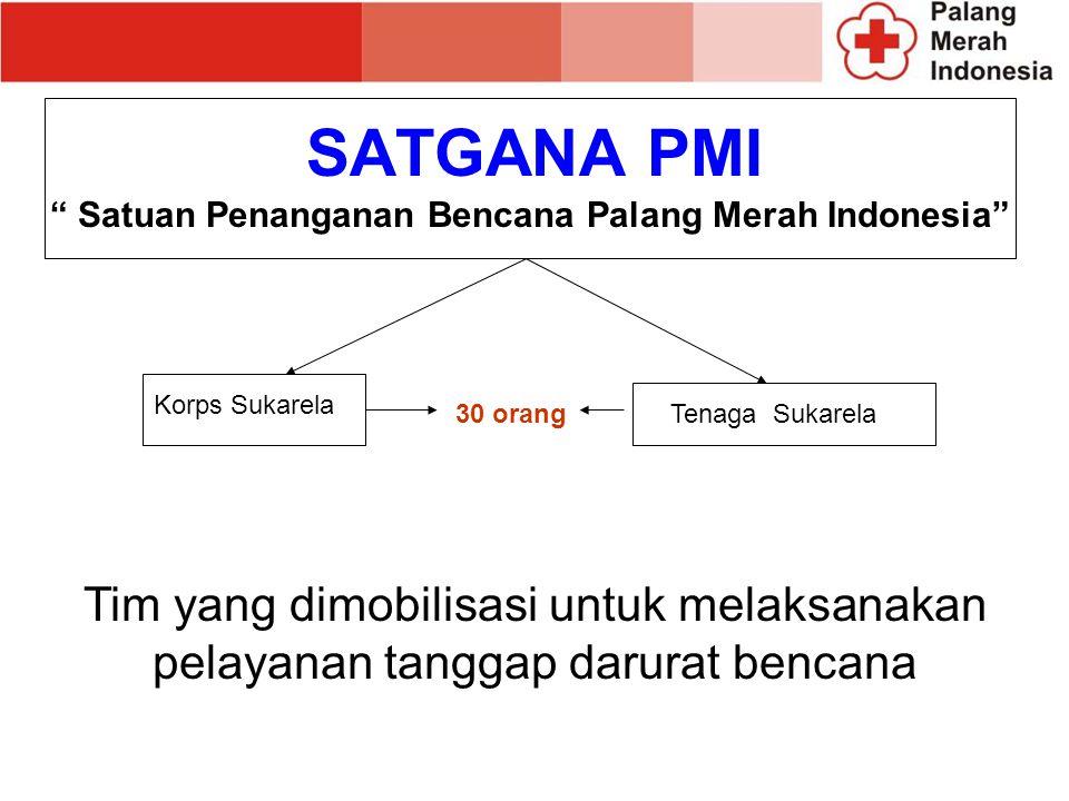 Satuan Penanganan Bencana Palang Merah Indonesia Korps Sukarela Tenaga Sukarela 30 orang Tim yang dimobilisasi untuk melaksanakan pelayanan tanggap darurat bencana