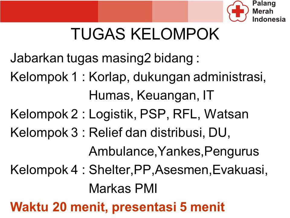 TUGAS KELOMPOK Jabarkan tugas masing2 bidang : Kelompok 1 : Korlap, dukungan administrasi, Humas, Keuangan, IT Kelompok 2 : Logistik, PSP, RFL, Watsan Kelompok 3 : Relief dan distribusi, DU, Ambulance,Yankes,Pengurus Kelompok 4 : Shelter,PP,Asesmen,Evakuasi, Markas PMI Waktu 20 menit, presentasi 5 menit