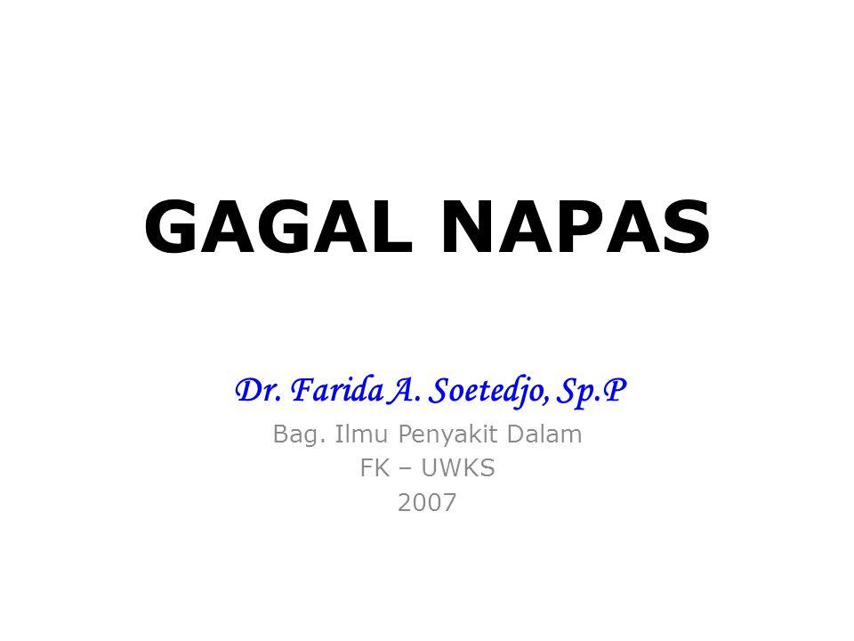 GAGAL NAPAS Dr. Farida A. Soetedjo, Sp.P Bag. Ilmu Penyakit Dalam FK – UWKS 2007