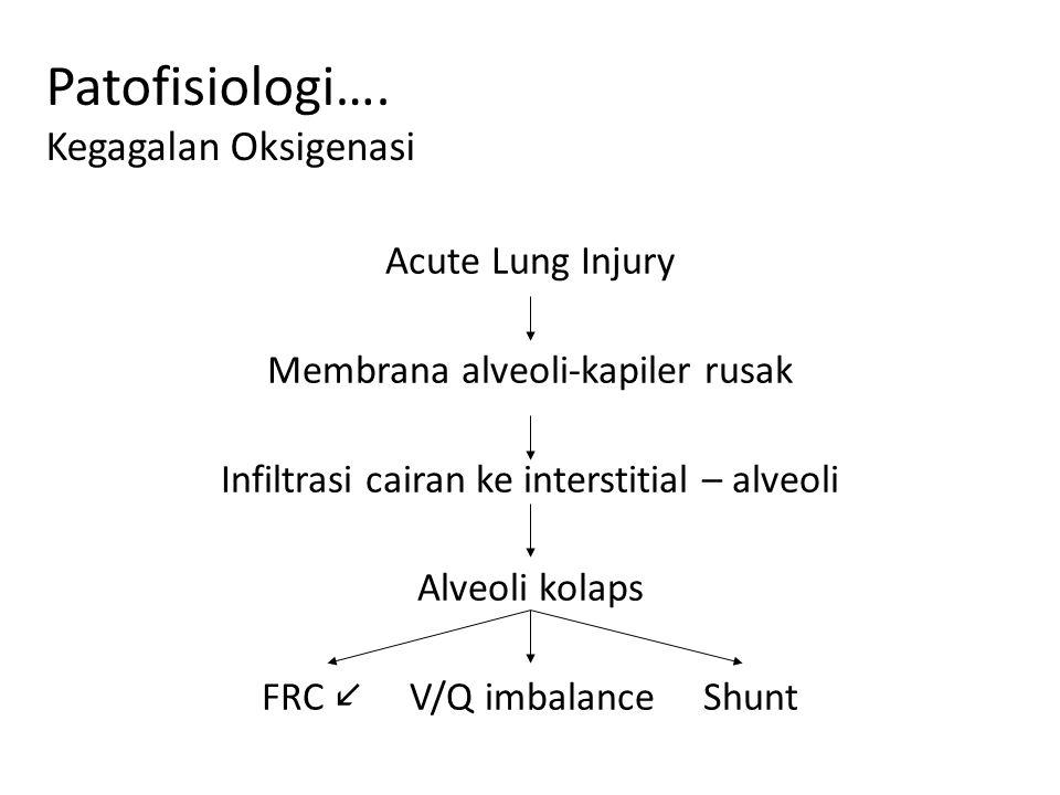 Patofisiologi…. Kegagalan Oksigenasi Acute Lung Injury Membrana alveoli-kapiler rusak Infiltrasi cairan ke interstitial – alveoli Alveoli kolaps FRC V