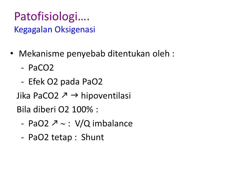 Patofisiologi…. Kegagalan Oksigenasi Mekanisme penyebab ditentukan oleh : - PaCO2 - Efek O2 pada PaO2 Jika PaCO2   hipoventilasi Bila diberi O2 100%