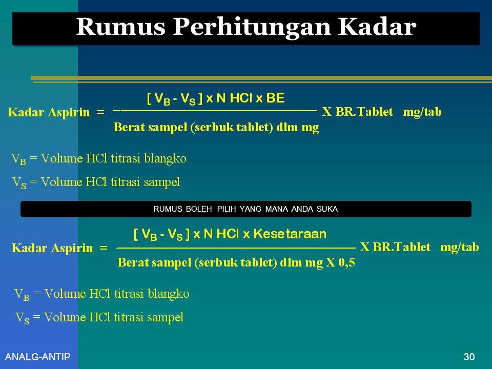 ANALG-ANTIP Reaksi Yang Terjadi Setiap mL larutan NaOH 0,5 M setara dengan 45,04 mg C 9 H 8 O 4 (Aspirin) 29 2