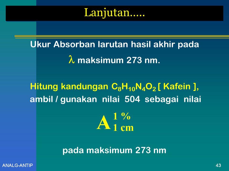ANALG-ANTIP Lanjutan…..