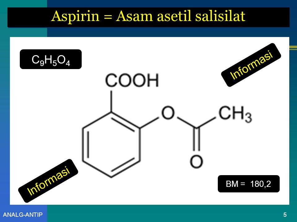 ANALG-ANTIP ASPIRIN 4 Rumus Molekul [ Chemical Formula ] atau Rumus Bangun [ Chemical Structure ]