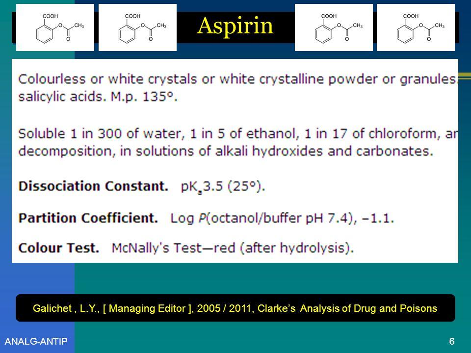 ANALG-ANTIP Aspirin = Asam asetil salisilat BM = 180,2 5 C9H5O4C9H5O4 Informasi