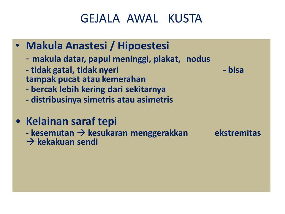 GEJALA AWAL KUSTA Makula Anastesi / Hipoestesi - makula datar, papul meninggi, plakat, nodus - tidak gatal, tidak nyeri - bisa tampak pucat atau kemerahan - bercak lebih kering dari sekitarnya - distribusinya simetris atau asimetris Kelainan saraf tepi - kesemutan  kesukaran menggerakkan ekstremitas  kekakuan sendi