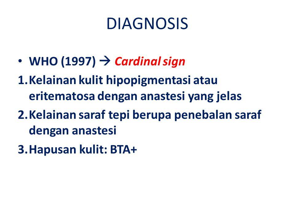 DIAGNOSIS WHO (1997)  Cardinal sign 1.Kelainan kulit hipopigmentasi atau eritematosa dengan anastesi yang jelas 2.Kelainan saraf tepi berupa penebalan saraf dengan anastesi 3.Hapusan kulit: BTA+