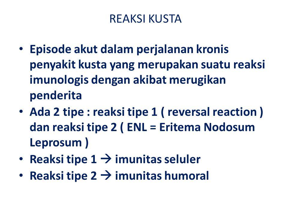 REAKSI KUSTA Episode akut dalam perjalanan kronis penyakit kusta yang merupakan suatu reaksi imunologis dengan akibat merugikan penderita Ada 2 tipe : reaksi tipe 1 ( reversal reaction ) dan reaksi tipe 2 ( ENL = Eritema Nodosum Leprosum ) Reaksi tipe 1  imunitas seluler Reaksi tipe 2  imunitas humoral