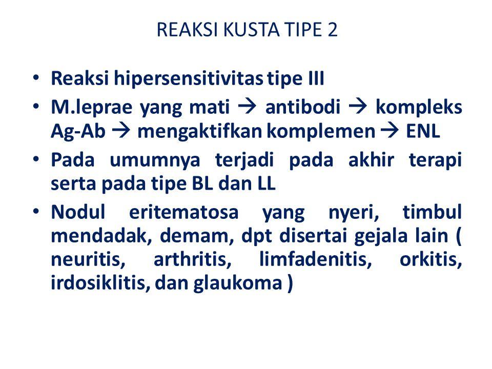 REAKSI KUSTA TIPE 2 Reaksi hipersensitivitas tipe III M.leprae yang mati  antibodi  kompleks Ag-Ab  mengaktifkan komplemen  ENL Pada umumnya terjadi pada akhir terapi serta pada tipe BL dan LL Nodul eritematosa yang nyeri, timbul mendadak, demam, dpt disertai gejala lain ( neuritis, arthritis, limfadenitis, orkitis, irdosiklitis, dan glaukoma )