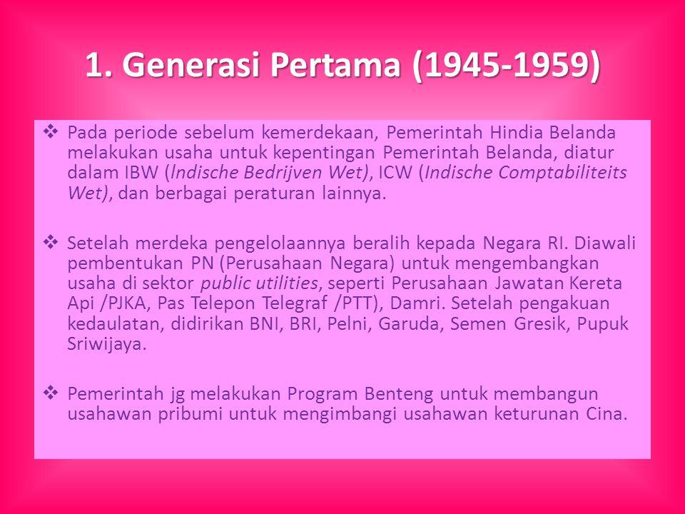 1. Generasi Pertama (1945-1959)  Pada periode sebelum kemerdekaan, Pemerintah Hindia Belanda melakukan usaha untuk kepentingan Pemerintah Belanda, di