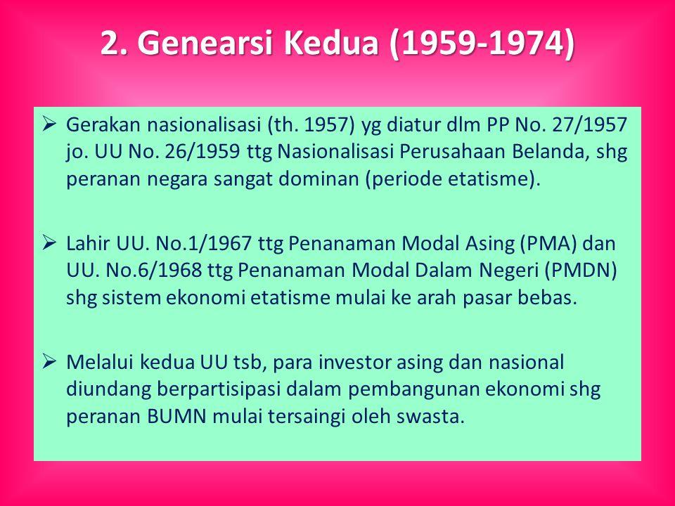 2. Genearsi Kedua (1959-1974)  Gerakan nasionalisasi (th.