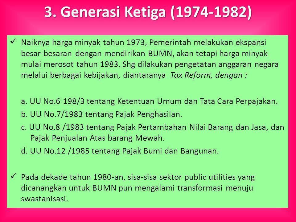 3. Generasi Ketiga (1974-1982) Naiknya harga minyak tahun 1973, Pemerintah melakukan ekspansi besar-besaran dengan mendirikan BUMN, akan tetapi harga
