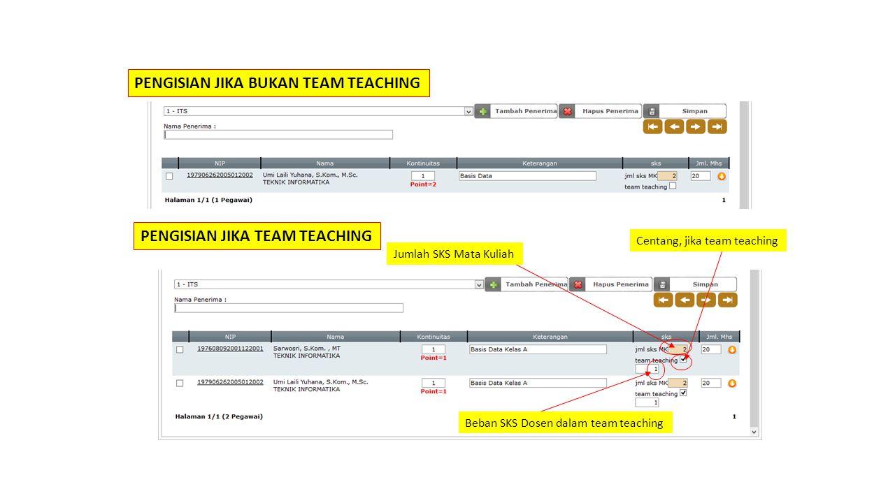 Centang, jika team teaching Beban SKS Dosen dalam team teaching Jumlah SKS Mata Kuliah PENGISIAN JIKA TEAM TEACHING PENGISIAN JIKA BUKAN TEAM TEACHING