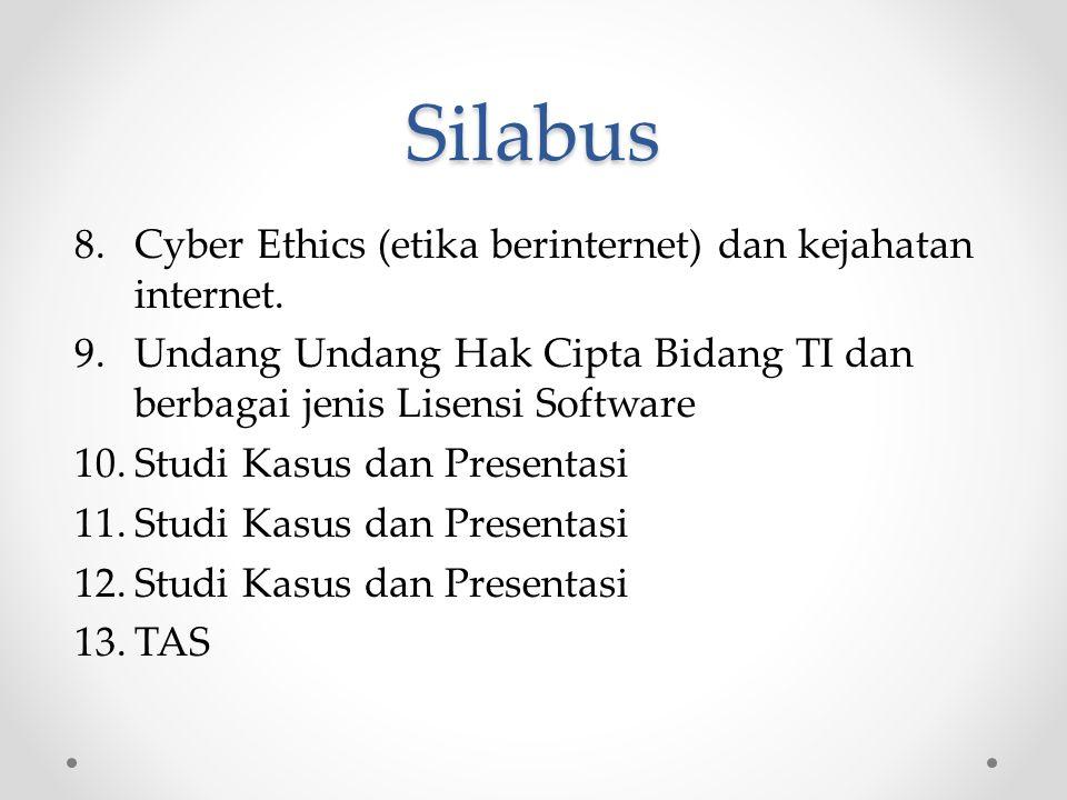 Silabus 8.Cyber Ethics (etika berinternet) dan kejahatan internet.