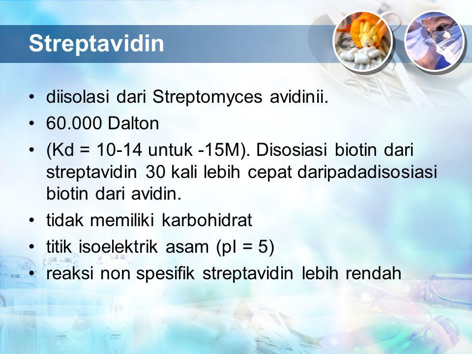 Streptavidin diisolasi dari Streptomyces avidinii. 60.000 Dalton (Kd = 10-14 untuk -15M). Disosiasi biotin dari streptavidin 30 kali lebih cepat darip