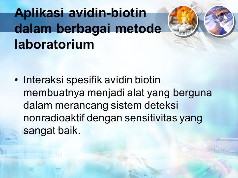 Aplikasi avidin-biotin dalam berbagai metode laboratorium Interaksi spesifik avidin biotin membuatnya menjadi alat yang berguna dalam merancang sistem