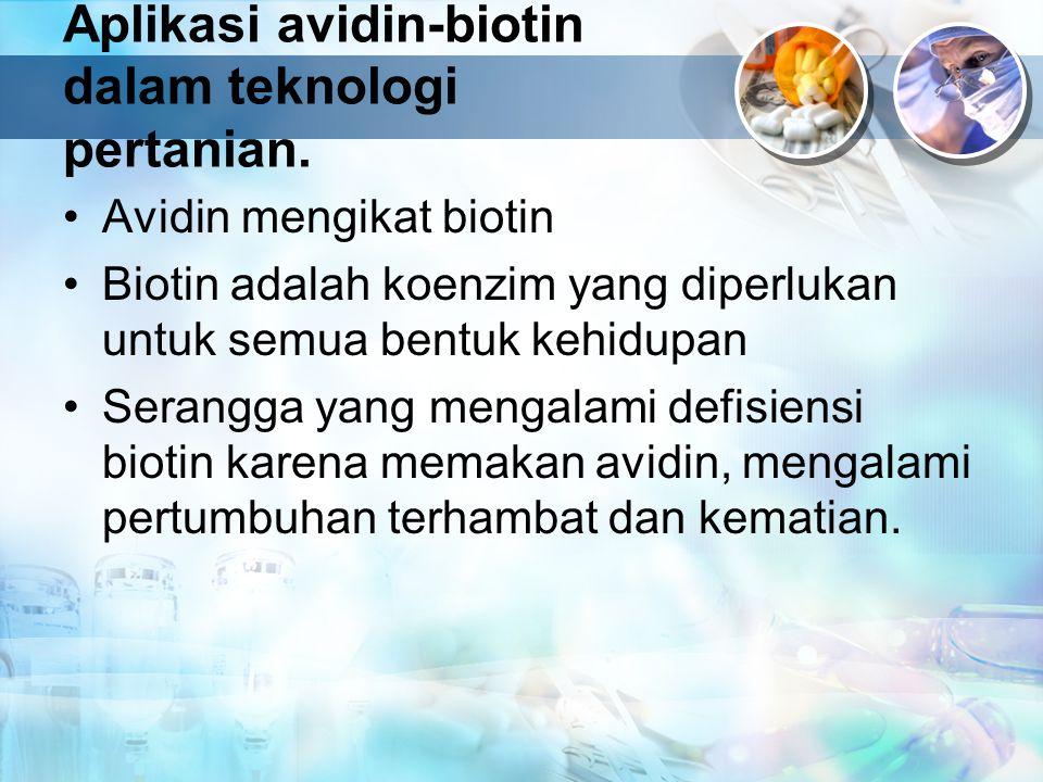 Aplikasi avidin-biotin dalam teknologi pertanian. Avidin mengikat biotin Biotin adalah koenzim yang diperlukan untuk semua bentuk kehidupan Serangga y