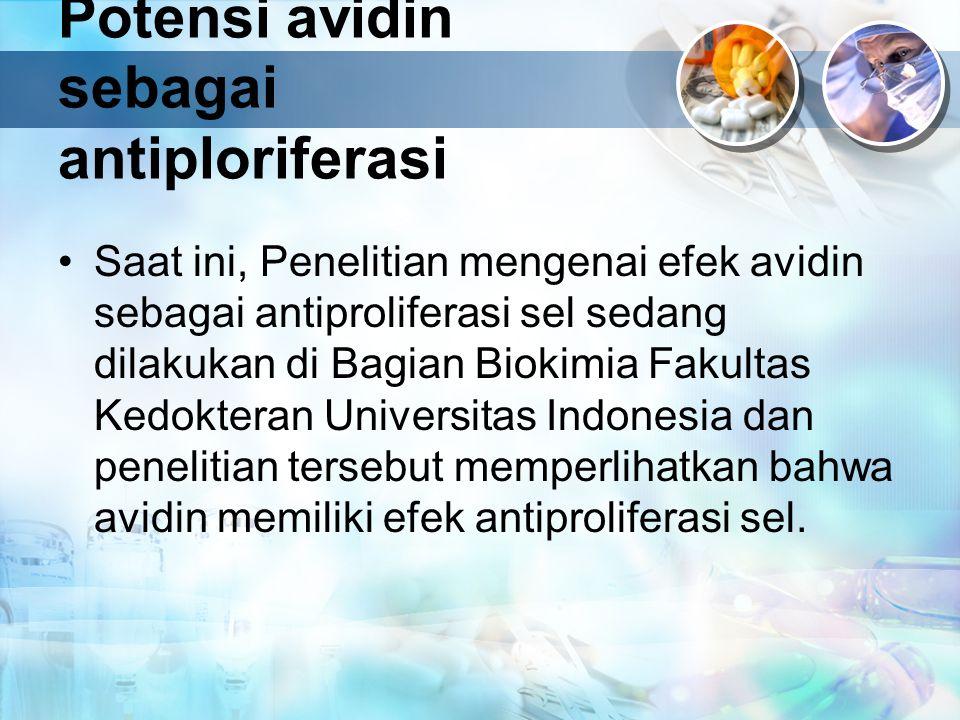 Potensi avidin sebagai antiploriferasi Saat ini, Penelitian mengenai efek avidin sebagai antiproliferasi sel sedang dilakukan di Bagian Biokimia Fakul