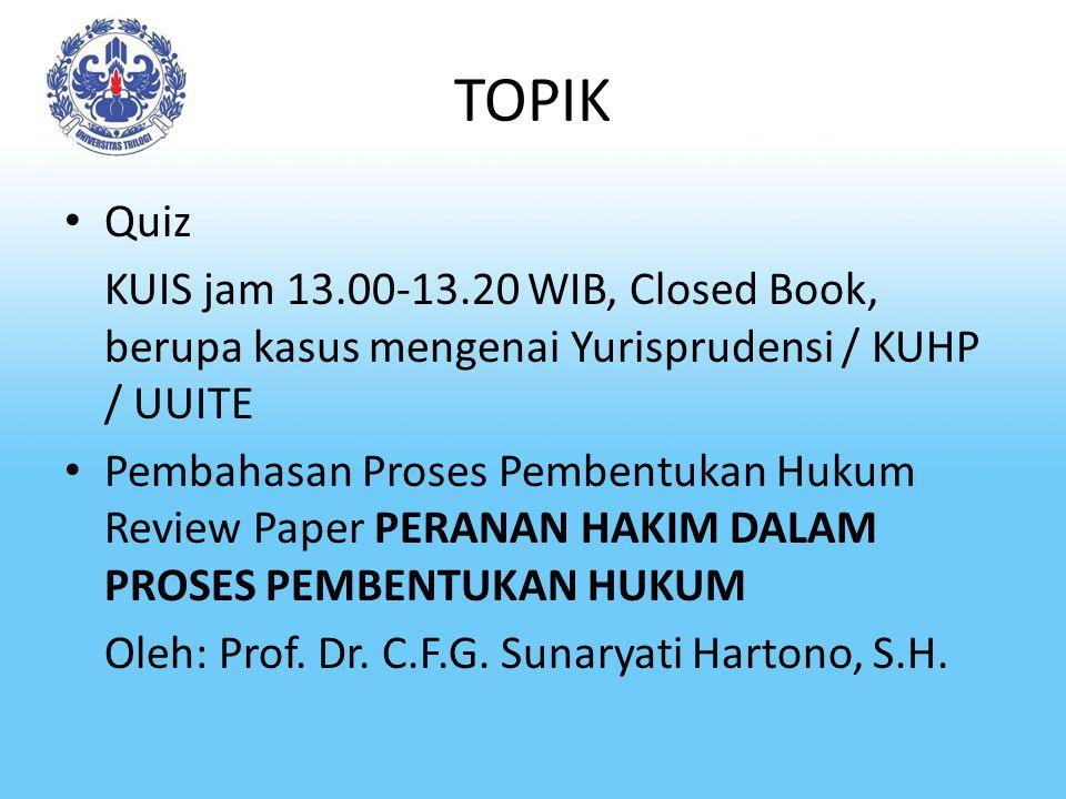 TOPIK Quiz KUIS jam 13.00-13.20 WIB, Closed Book, berupa kasus mengenai Yurisprudensi / KUHP / UUITE Pembahasan Proses Pembentukan Hukum Review Paper PERANAN HAKIM DALAM PROSES PEMBENTUKAN HUKUM Oleh: Prof.