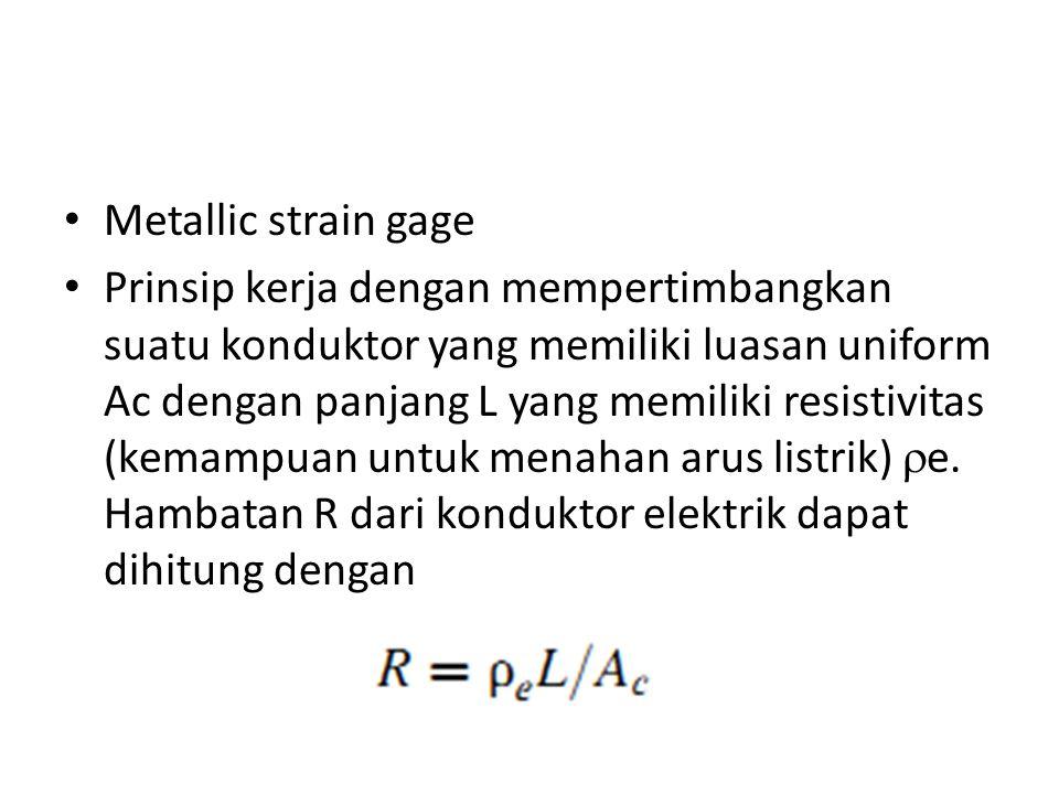 Metallic strain gage Prinsip kerja dengan mempertimbangkan suatu konduktor yang memiliki luasan uniform Ac dengan panjang L yang memiliki resistivitas (kemampuan untuk menahan arus listrik)  e.
