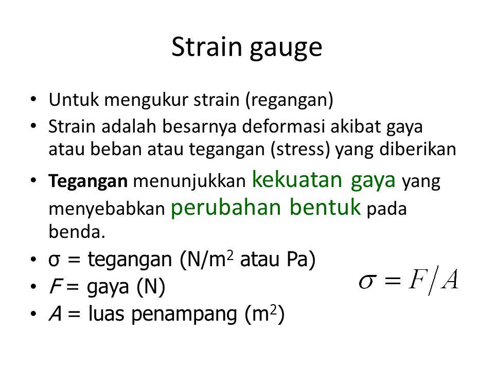 Strain gauge Untuk mengukur strain (regangan) Strain adalah besarnya deformasi akibat gaya atau beban atau tegangan (stress) yang diberikan Tegangan menunjukkan kekuatan gaya yang menyebabkan perubahan bentuk pada benda.