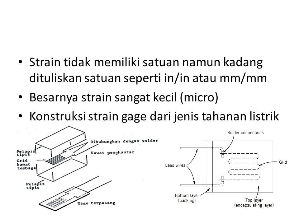 Strain gage perlu memiliki kondisi stabil: – Tidak berubah terhadap waktu, temperatur dan faktor lingkungan – Ukuran strain harus kecil agar kesalahan pengukuran regangan juga kecil – Respon harus cukup cepat untuk menerima respin dengan frekuensi > 100 kHz