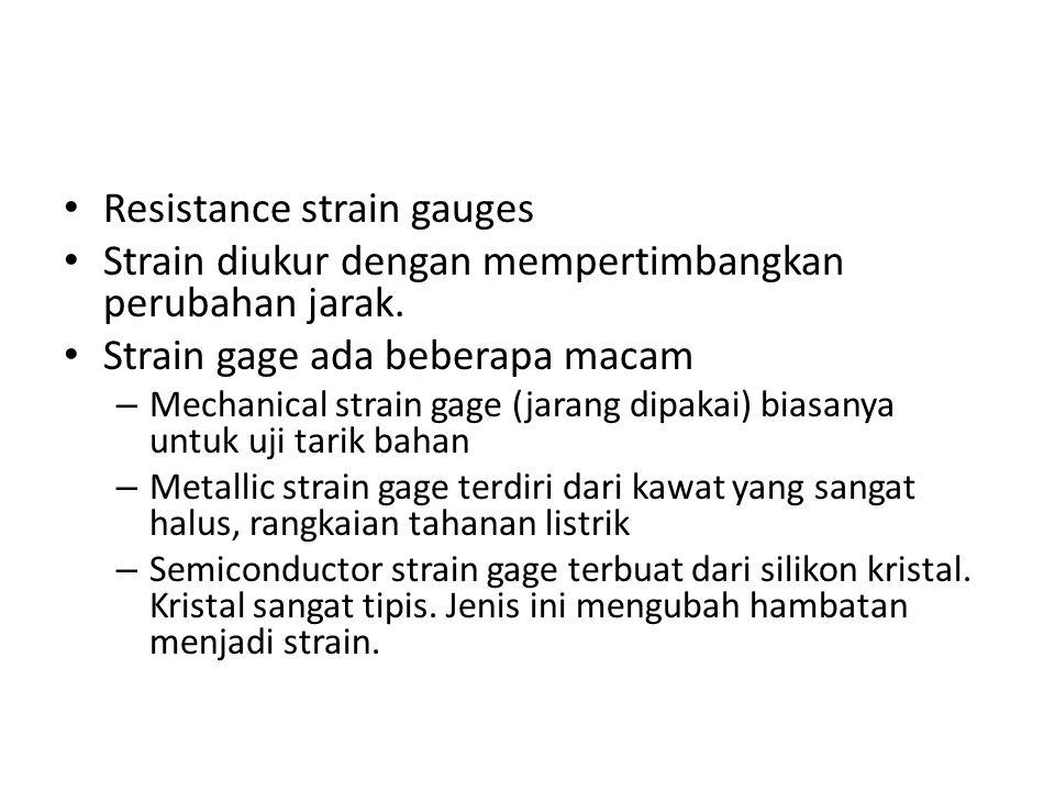 Resistance strain gauges Strain diukur dengan mempertimbangkan perubahan jarak.