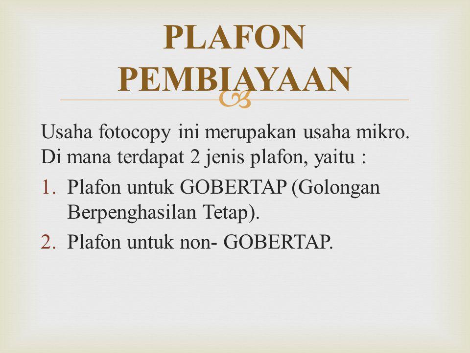  Usaha fotocopy ini merupakan usaha mikro. Di mana terdapat 2 jenis plafon, yaitu :  Plafon untuk GOBERTAP (Golongan Berpenghasilan Tetap).  Plaf