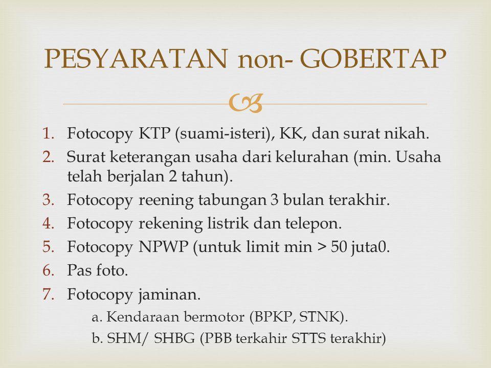  1.Fotocopy KTP (suami-isteri), KK, dan surat nikah. 2.Surat keterangan usaha dari kelurahan (min. Usaha telah berjalan 2 tahun). 3.Fotocopy reening