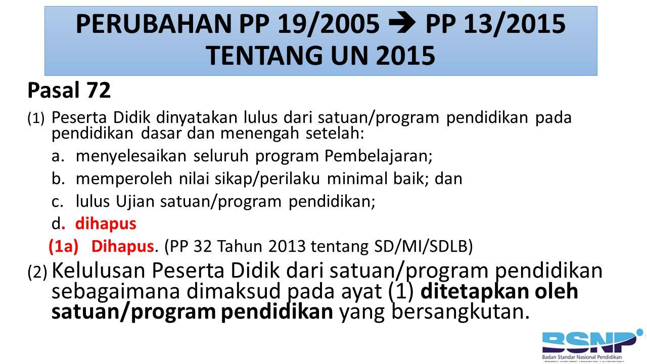Pasal 72 (1) Peserta Didik dinyatakan lulus dari satuan/program pendidikan pada pendidikan dasar dan menengah setelah: a. menyelesaikan seluruh progra