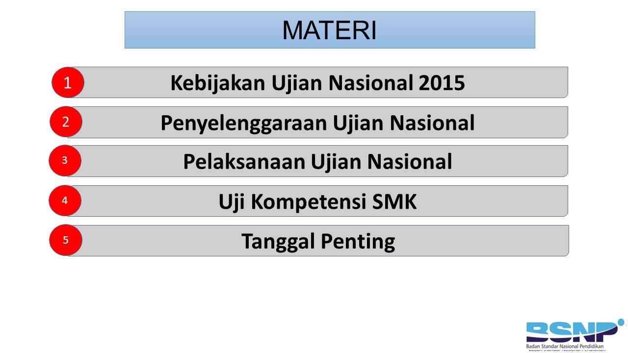 MATERI Kebijakan Ujian Nasional 2015 1 Penyelenggaraan Ujian Nasional Pelaksanaan Ujian Nasional 2 3 Uji Kompetensi SMK 4 Tanggal Penting 5