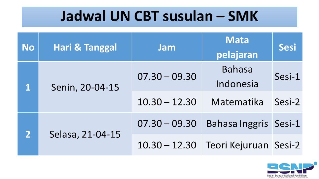 NoHari & TanggalJam Mata pelajaran Sesi 1Senin, 20-04-15 07.30 – 09.30 Bahasa Indonesia Sesi-1 10.30 – 12.30MatematikaSesi-2 2Selasa, 21-04-15 07.30 –