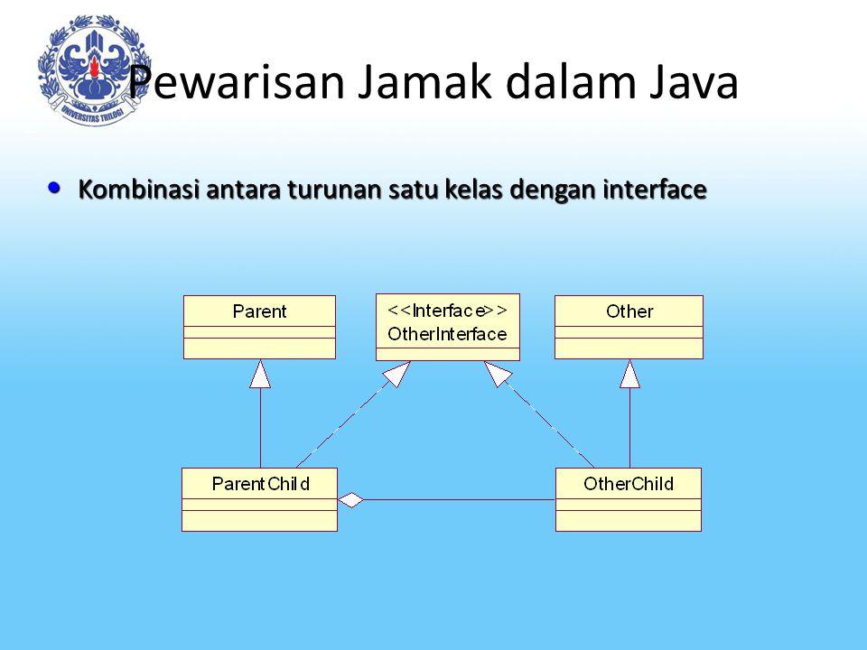 Pewarisan Jamak dalam Java Kombinasi antara turunan satu kelas dengan interface Kombinasi antara turunan satu kelas dengan interface