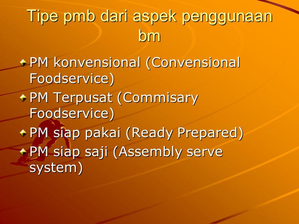 Tipe pmb dari aspek penggunaan bm PM konvensional (Convensional Foodservice) PM Terpusat (Commisary Foodservice) PM siap pakai (Ready Prepared) PM sia