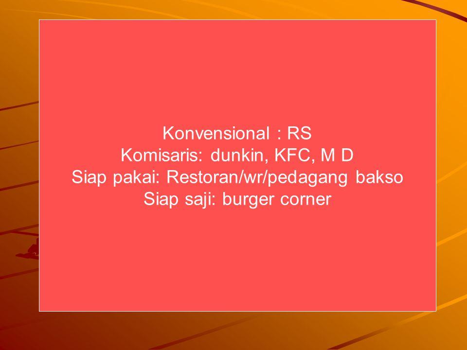Konvensional : RS Komisaris: dunkin, KFC, M D Siap pakai: Restoran/wr/pedagang bakso Siap saji: burger corner