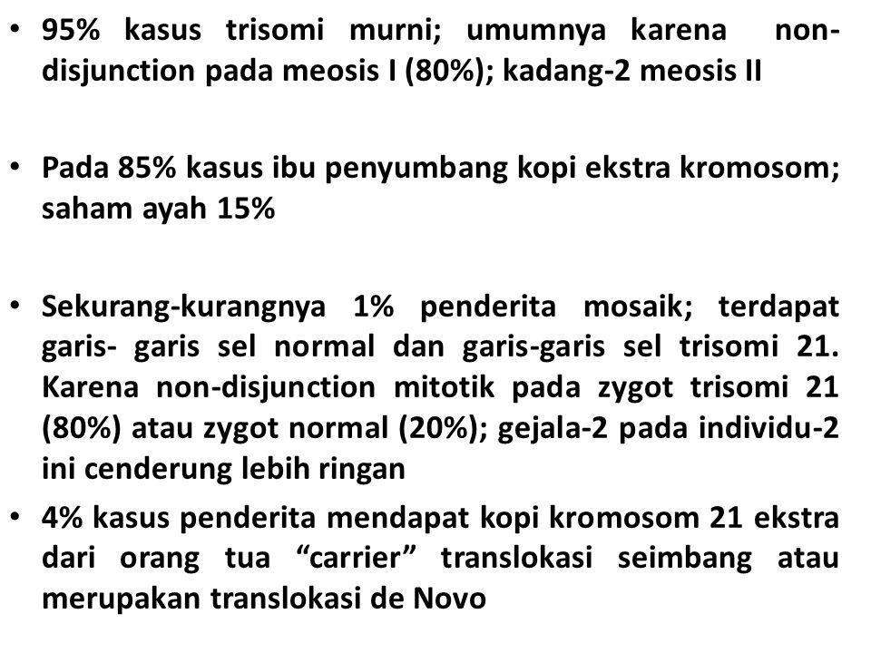 95% kasus trisomi murni; umumnya karena non- disjunction pada meosis I (80%); kadang-2 meosis II Pada 85% kasus ibu penyumbang kopi ekstra kromosom; saham ayah 15% Sekurang-kurangnya 1% penderita mosaik; terdapat garis- garis sel normal dan garis-garis sel trisomi 21.